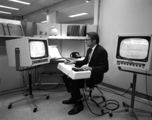 "Photo: http://www.wired.com/2013/12/tech-time-warp-engelbart/ From ""The Mother of All Demos"""
