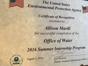 EPA Internship Certificate
