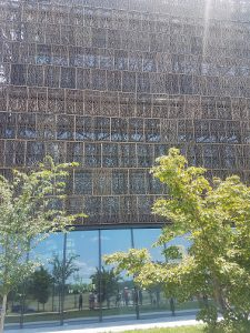 A view of the siding of the Smithsonian National Museum of African American History and Culture (NMAAHC). I got sunburned while waiting to get in, but it was worth it.