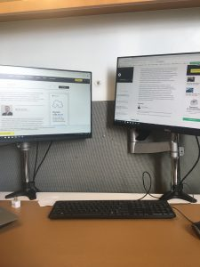 Work station with two computer screens