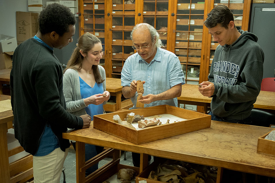 Professor Javier Urcid working with Students in his Anthropology classroom