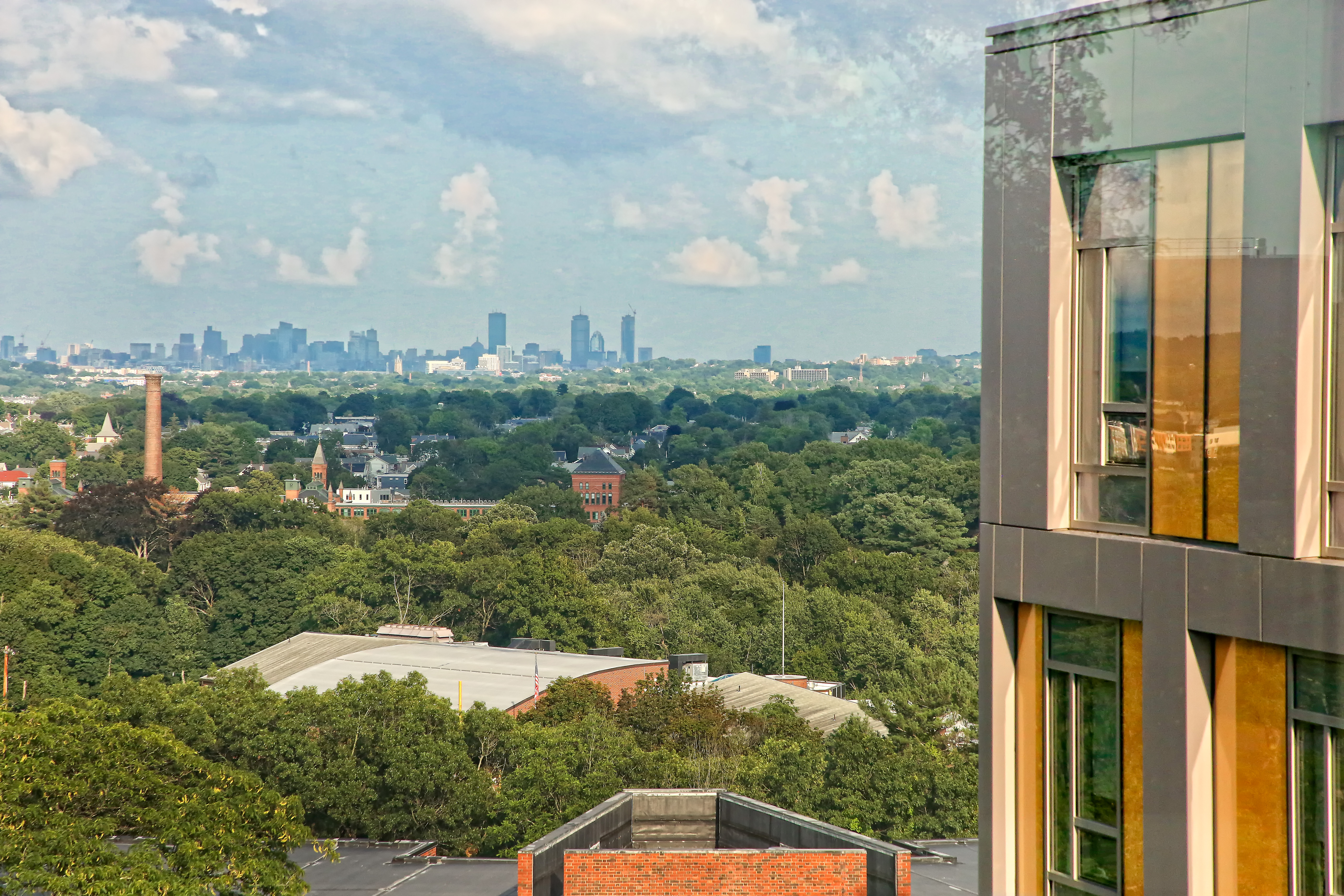 Boston Skyline viewed from a building on the Brandeis University campus